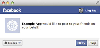 Facebook application write permission