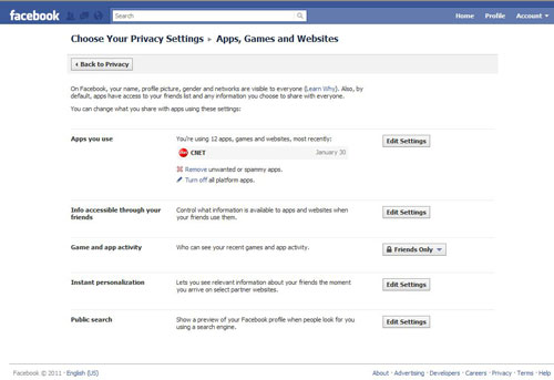 Facebook applications, games, and website settings