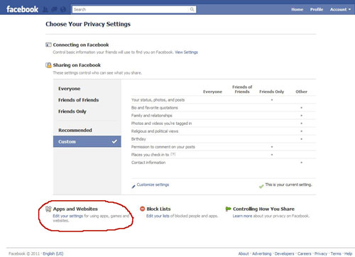 Facebook application settings