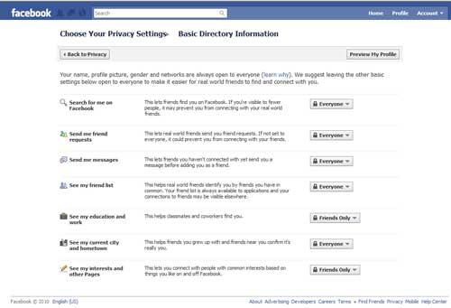 Facebook basic directory information