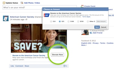 Facebook's new Donate Now button