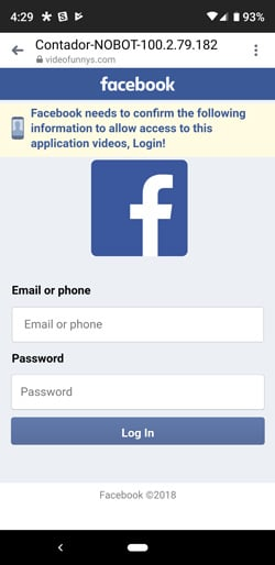 Facebook scam phishing login