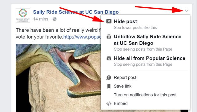 Facebook - hide post