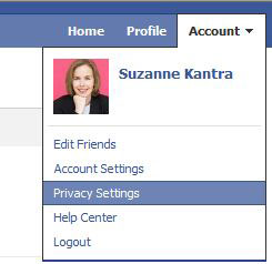 Facebook privacy menu dropdown