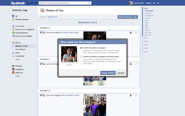 Facebook request removal tool
