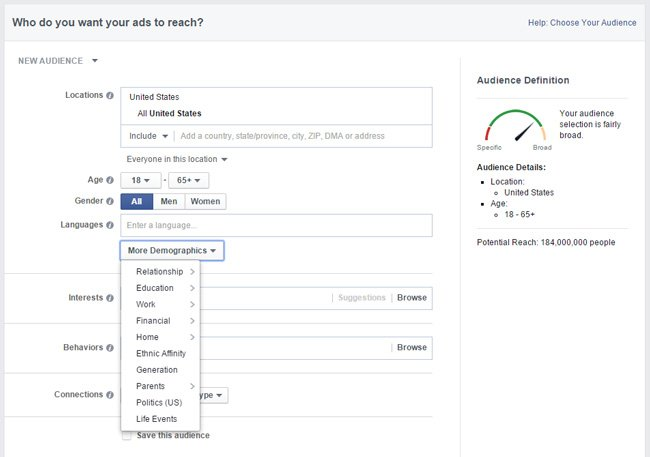 Facebook targeting options