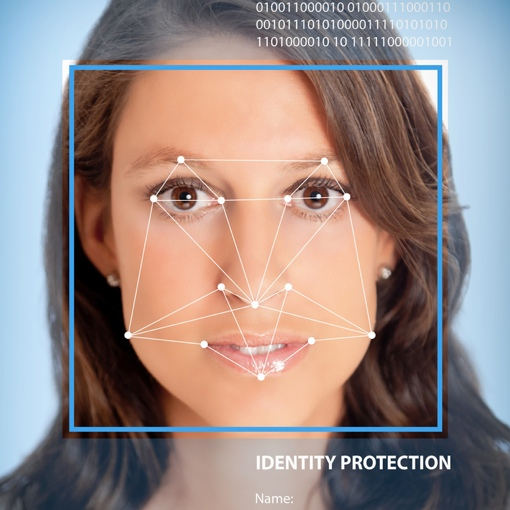 Woman undergoing facial recognition scan