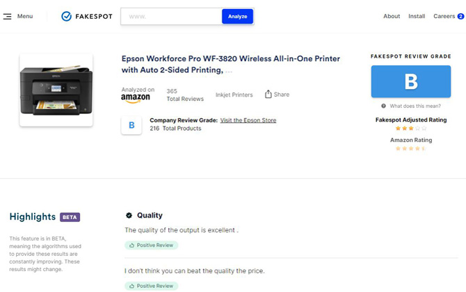 Fakespot review page for the Epson Workforce Pro WF 3820 all-in-one printer. Shows a review rating of B and and adjusted product rating for 3 stars down from 4.4 stars. You can also see the company rating, a picture of the product, andquotes from two positive reviews.