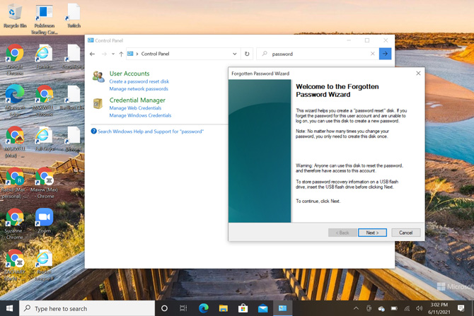 Screenshot of Windows 10 Control panel with the pop up window Welcome to the Forgotten Password Wizard .