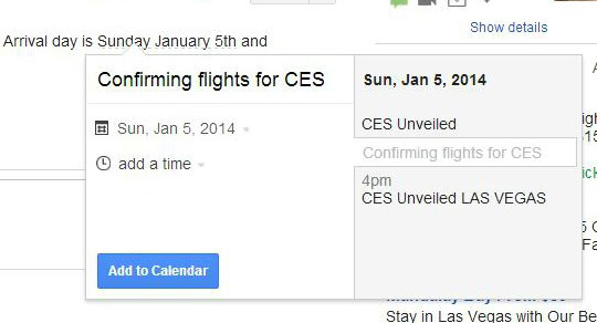 Gmail calendar entry