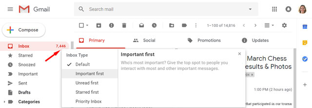 Gmail Inbox type