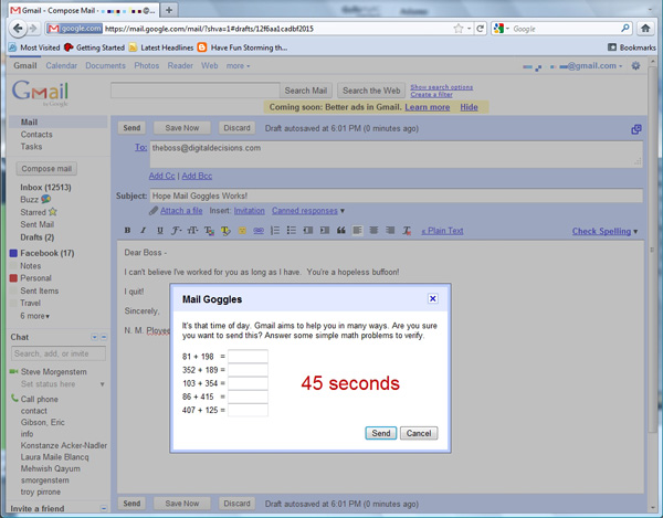 prevent sending embarrassing emails with mail goggles gmail