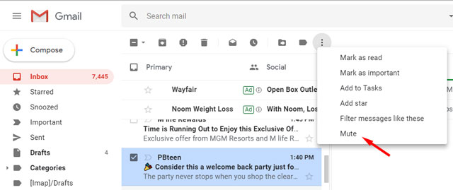 Gmail Mute message