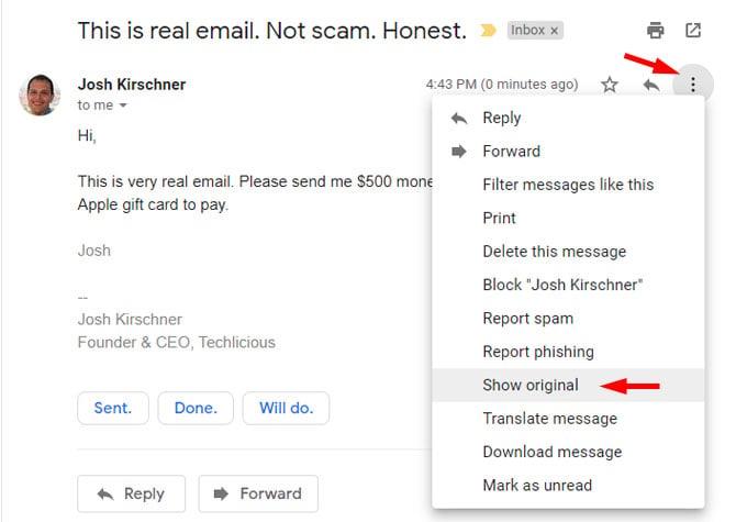 Gmail mostrar original