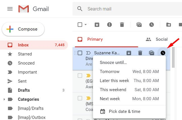 Gmail Snooze email