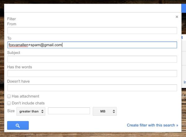 Creating a Gmail spam alias