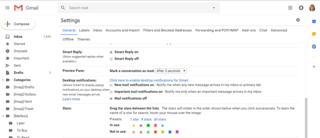 Gmail star options