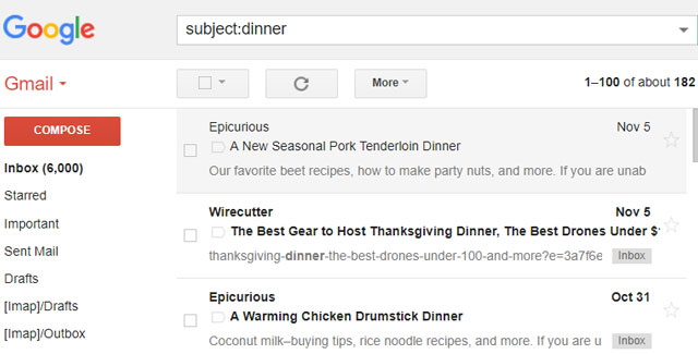 Gmail search tips: Subject:Dinner