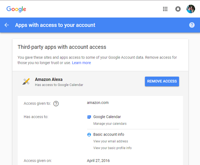 Google third party apps with account access