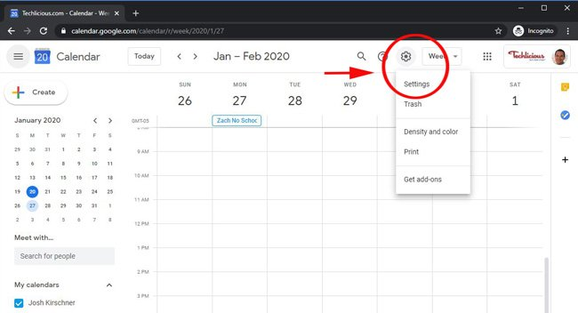 where to find Google Calendar settings
