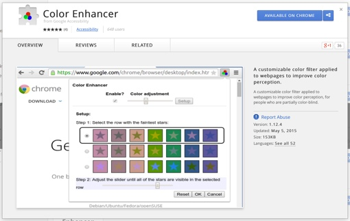 Google Chrome Color Enhancer window