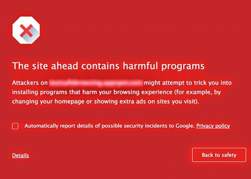 Google Chrome SafeBrowsing malware warning