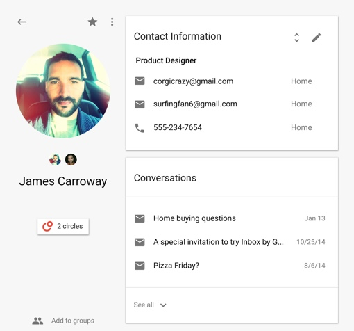 sample Google Contacts card