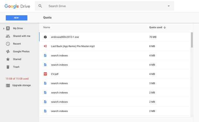 Free up storage in Google Drive