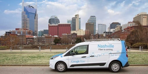 Google Fiber truck in Nashville, TN