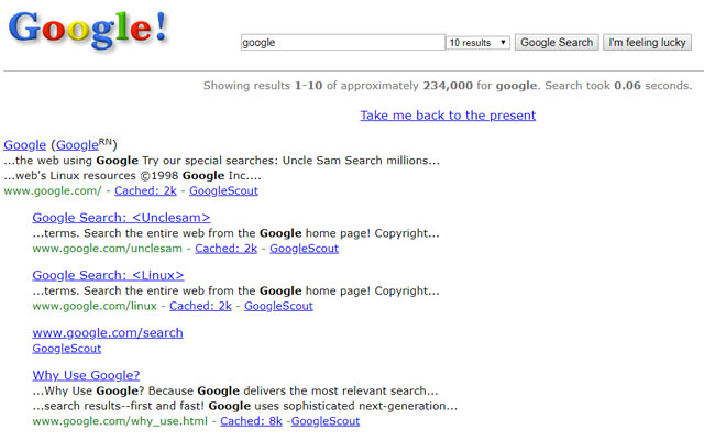 Googe in 1998 search term