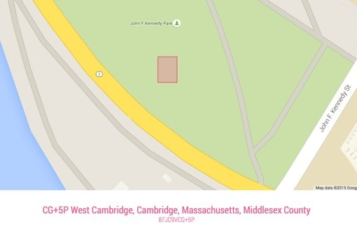 Map and Plus code for John F. Kennedy Park in Cambridge, MA