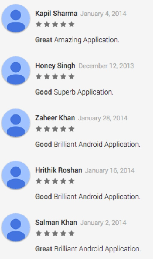 Google Play fake online reviews