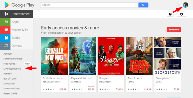 Screenshot of Google Play website showing the Subscriptions option on the menu that pointing out where to find your account.