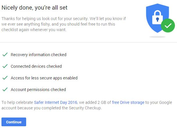 Google Security Checkup Bonus