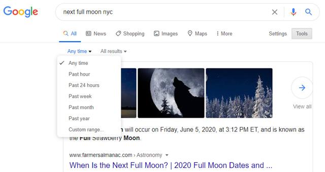 Búsqueda de períodos de tiempo de Google