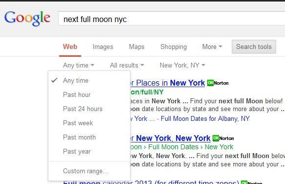 Google time frame search