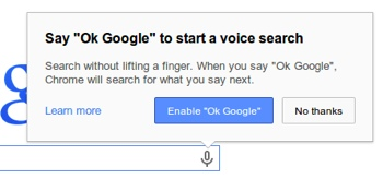 """Ok Google"" voice search"