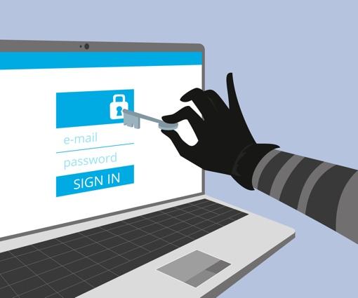 Hacker breaking in to online accounts