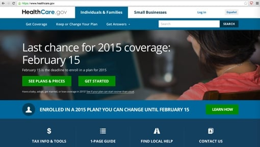 Healthcare.gov 2015 splash page