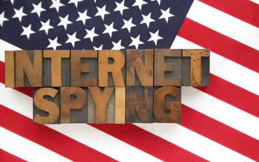 Internet Spying overlaid on American flag