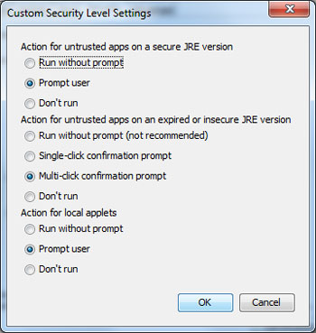 Java custom security settings