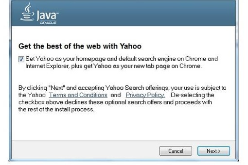 Java update Yahoo hijack