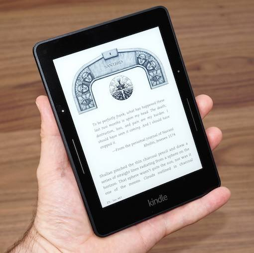 Amazon Kindle Voyage displaying an e-book