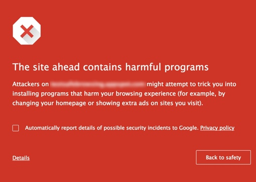 Malware Warning on Google Chrome