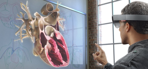 Man using Microsoft HoloLens
