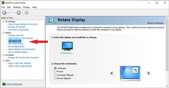 Nvidia Control Panel rotate display