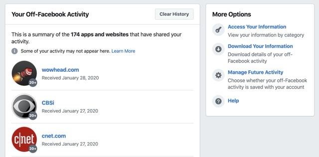 Facebook Off-Facebook Activity list