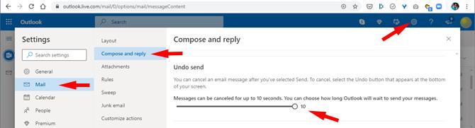 Outlook.com settings for Undo Send