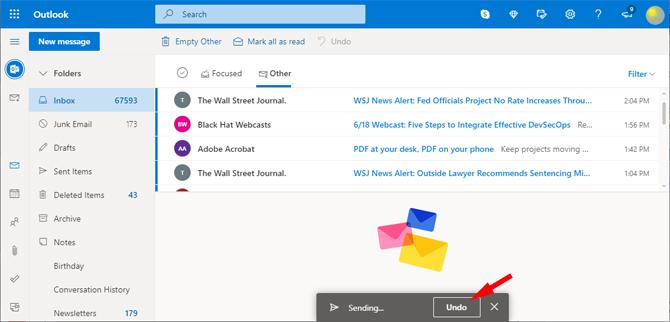 Outlook.com Undo button