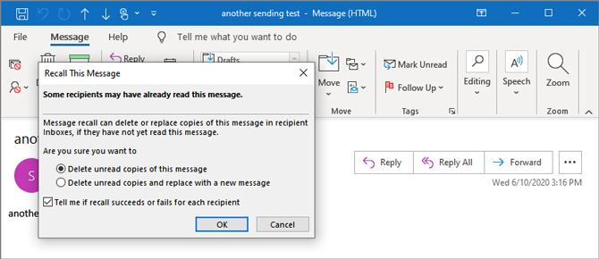 Outlook message recall
